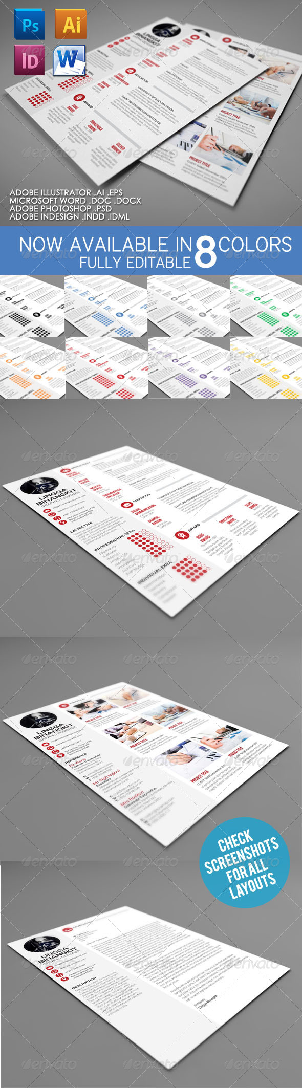 Sewon Clean Resume Template Volume 4 - Resumes Stationery