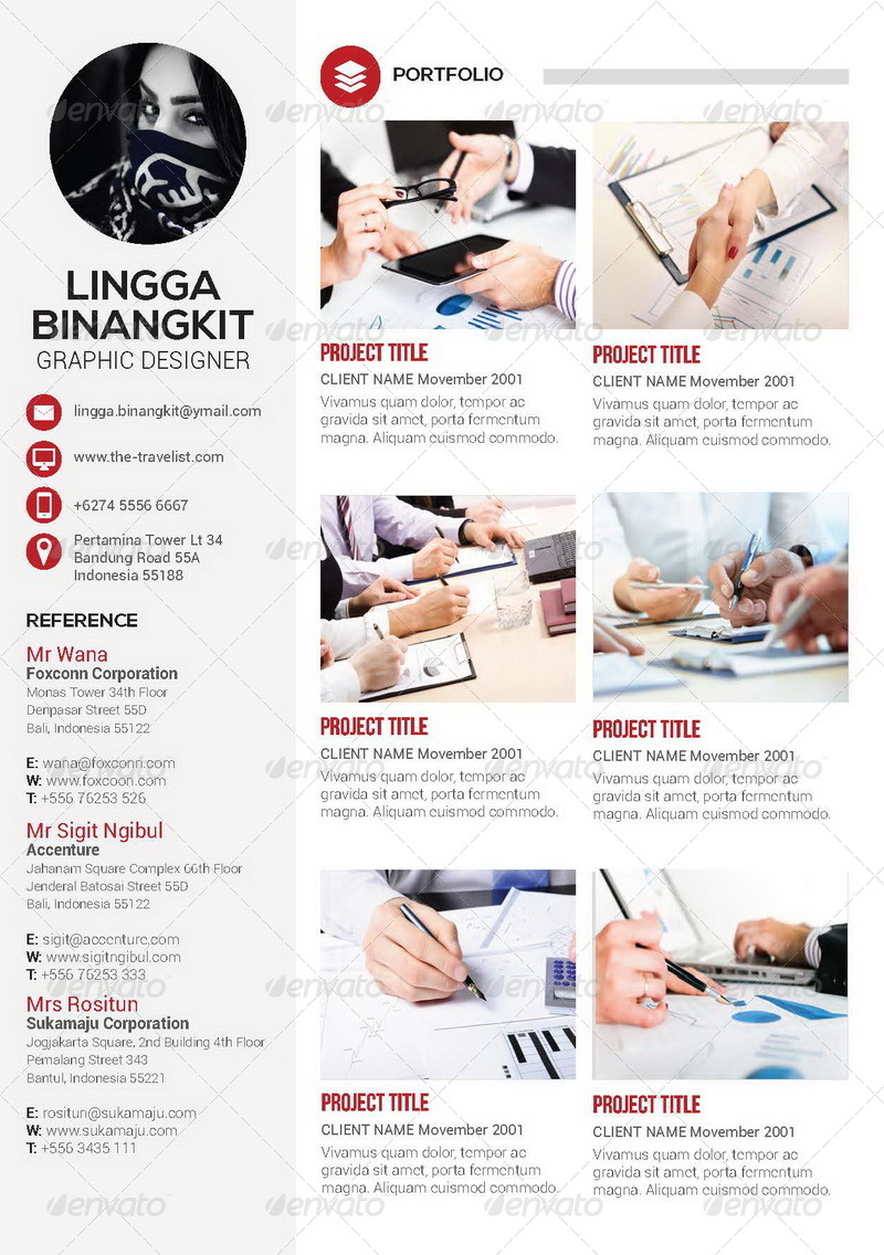 sewon clean resume template volume 4 by binangkit graphicriver