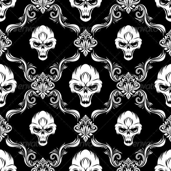 Skull Decorative Pattern - Patterns Decorative