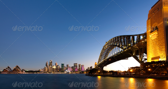 Sydney harbour at dusk - Stock Photo - Images