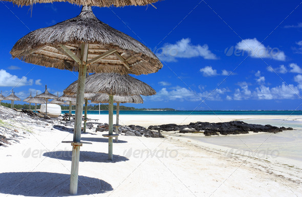 Umbrella in mauritius island - Stock Photo - Images