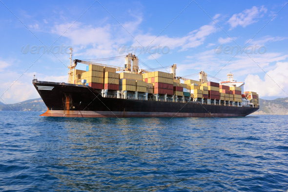 container ship in sea - Stock Photo - Images