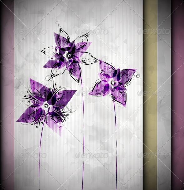 Watercolor Background with Flowers - Flowers & Plants Nature