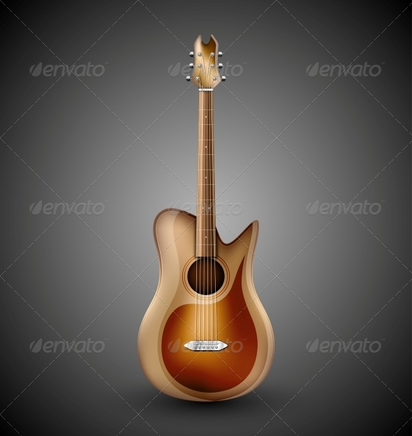 Isolated Acoustic Guitar - Man-made Objects Objects