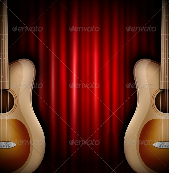 Background with Acoustic Guitar - Backgrounds Decorative