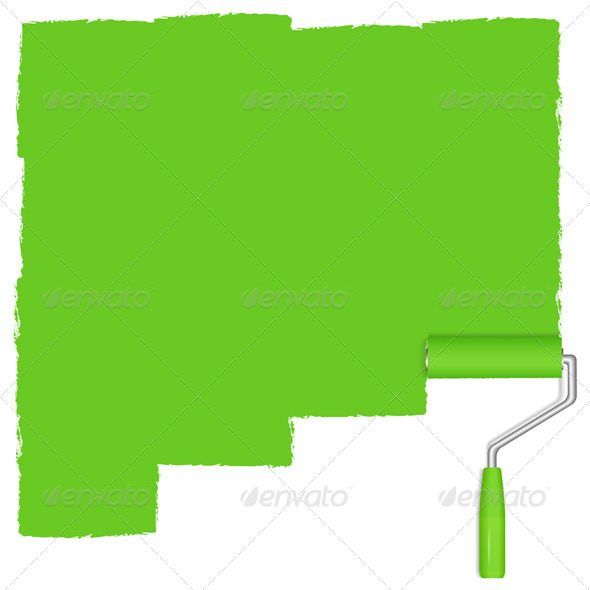 Green Paint Roller - Objects Vectors