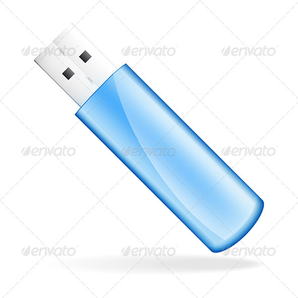 Blue USB Flash Drive - Man-made Objects Objects