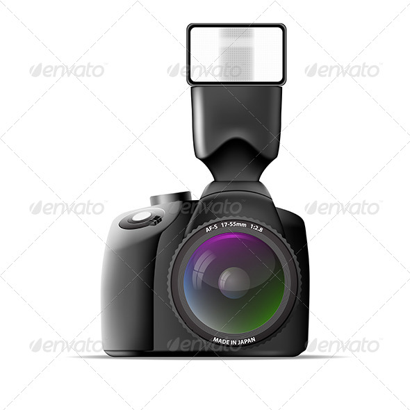Realistic Camera with External Flash - Man-made Objects Objects