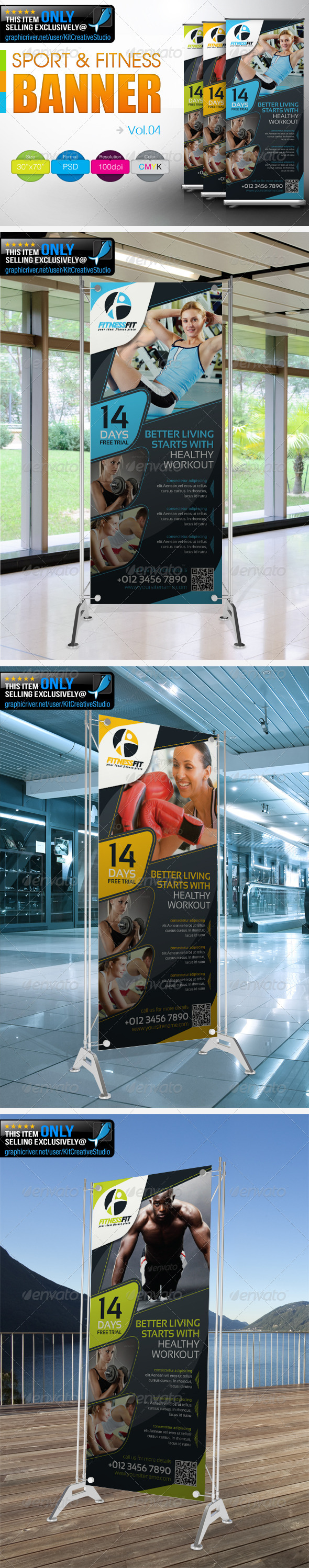 Fitness Banner Vol.4 - Signage Print Templates