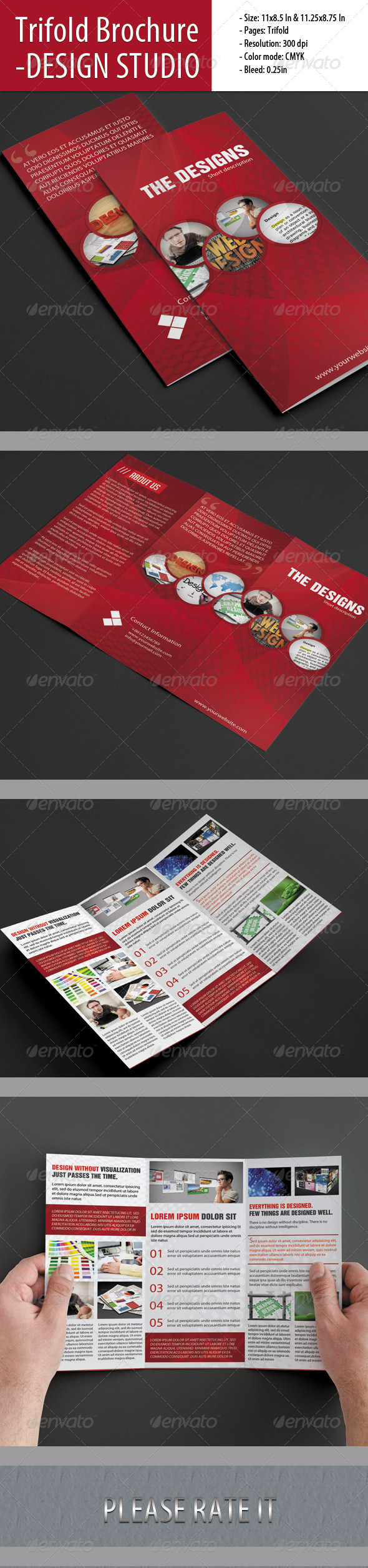 Trifold Brochure For Design Studio - Corporate Brochures