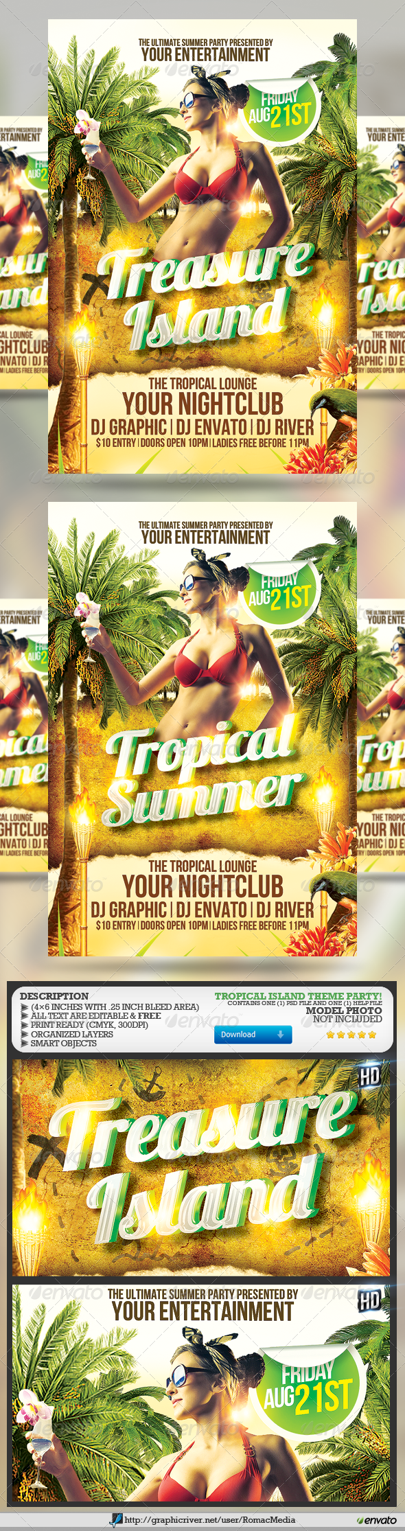 Tropical Summer Party Flyer - Holidays Events