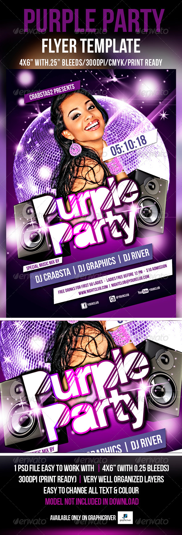 Purple Party Flyer Template  - Flyers Print Templates