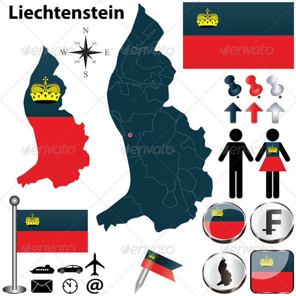 Map of Liechtenstein - Travel Conceptual