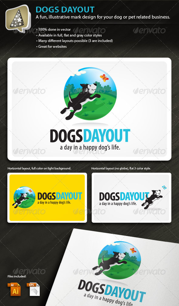 DogsDayOut - Illustrative Mark for Dog & Pet Biz - Animals Logo Templates