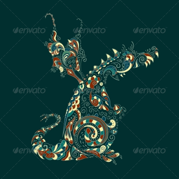 Ornate Vector Dragon - Backgrounds Decorative