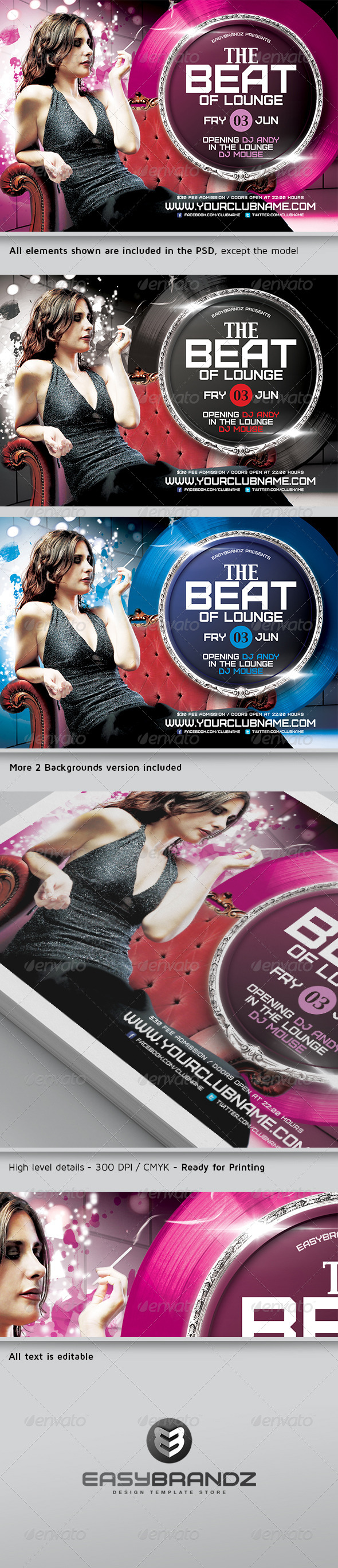 The Beat of Lounge Flyer Template - Events Flyers