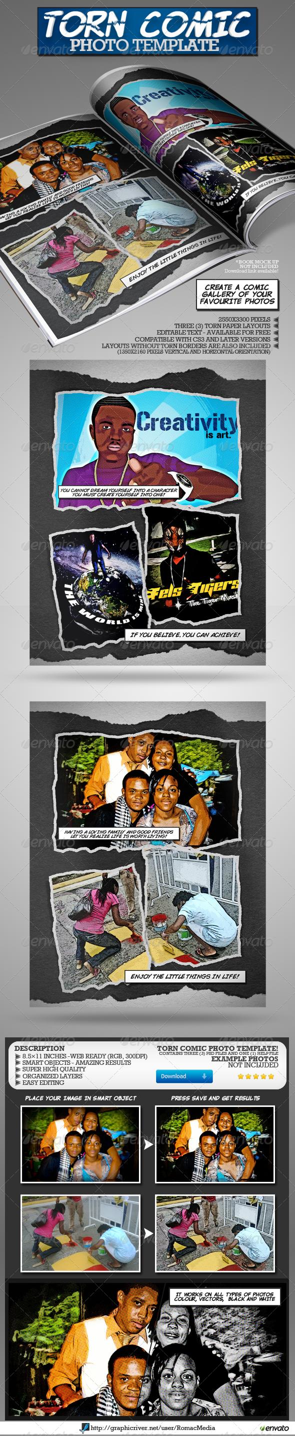Torn Comic Photo Template - Artistic Photo Templates