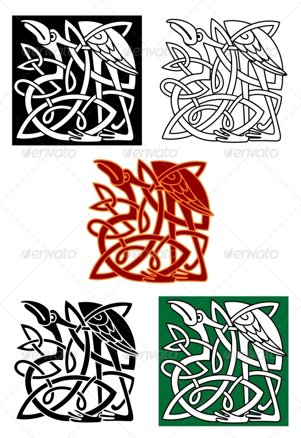 Celtic Totems with Birds - Tattoos Vectors