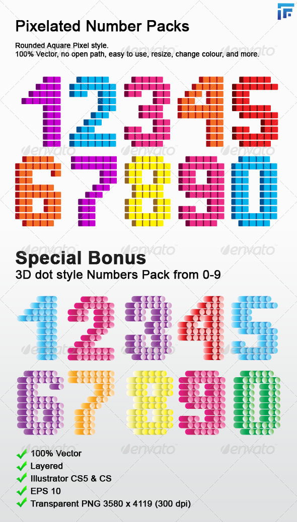 Pixelated Number Pack 0-9 - Objects Vectors