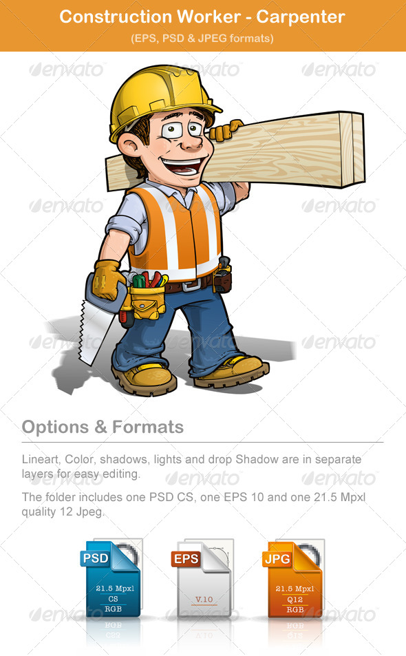 Construction Worker Carpenter - People Characters