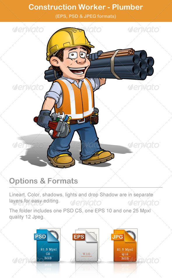 Construction Worker - Plumber - People Characters