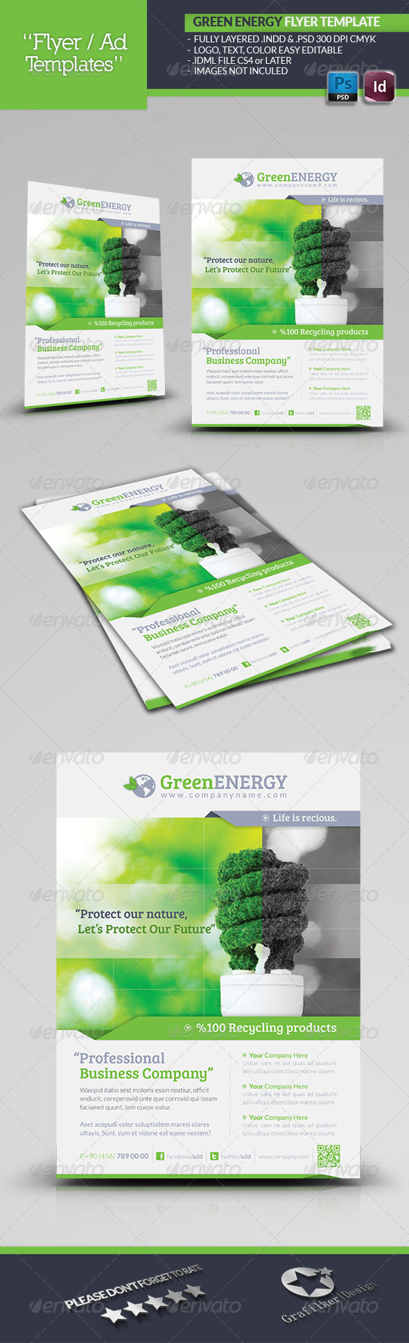 Green Energy Flyer Template - Corporate Flyers