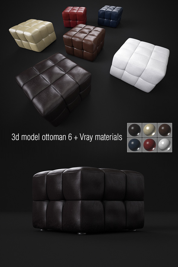 3d model padded stools - 3DOcean Item for Sale