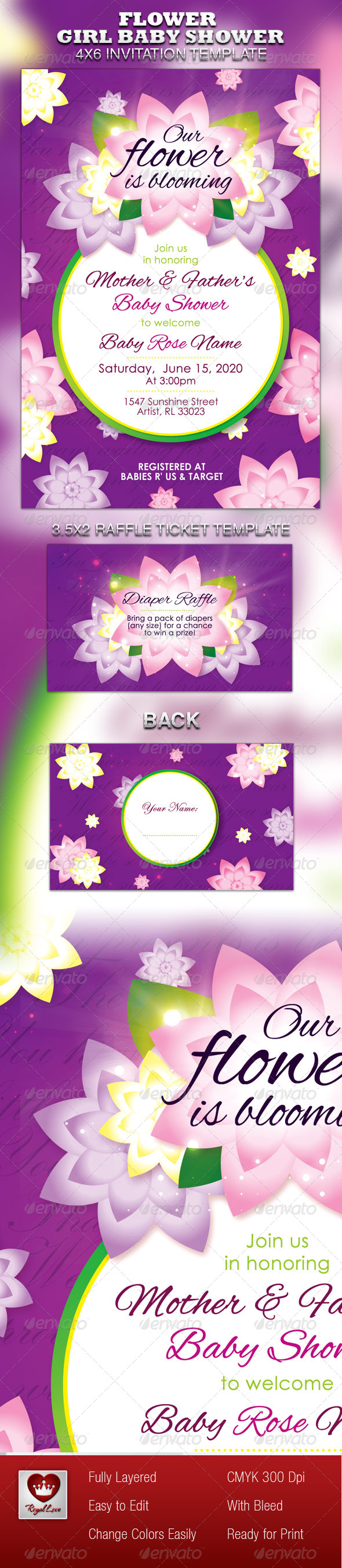 Flower Girl Baby Shower Invitation & Raffle Ticket - Invitations Cards & Invites