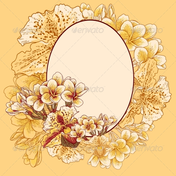 Retro Frame with Flowers - Backgrounds Decorative