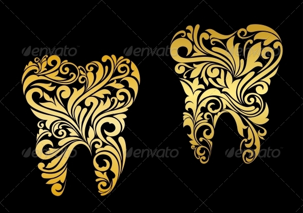 Golden Tooth in Floral Style - Health/Medicine Conceptual
