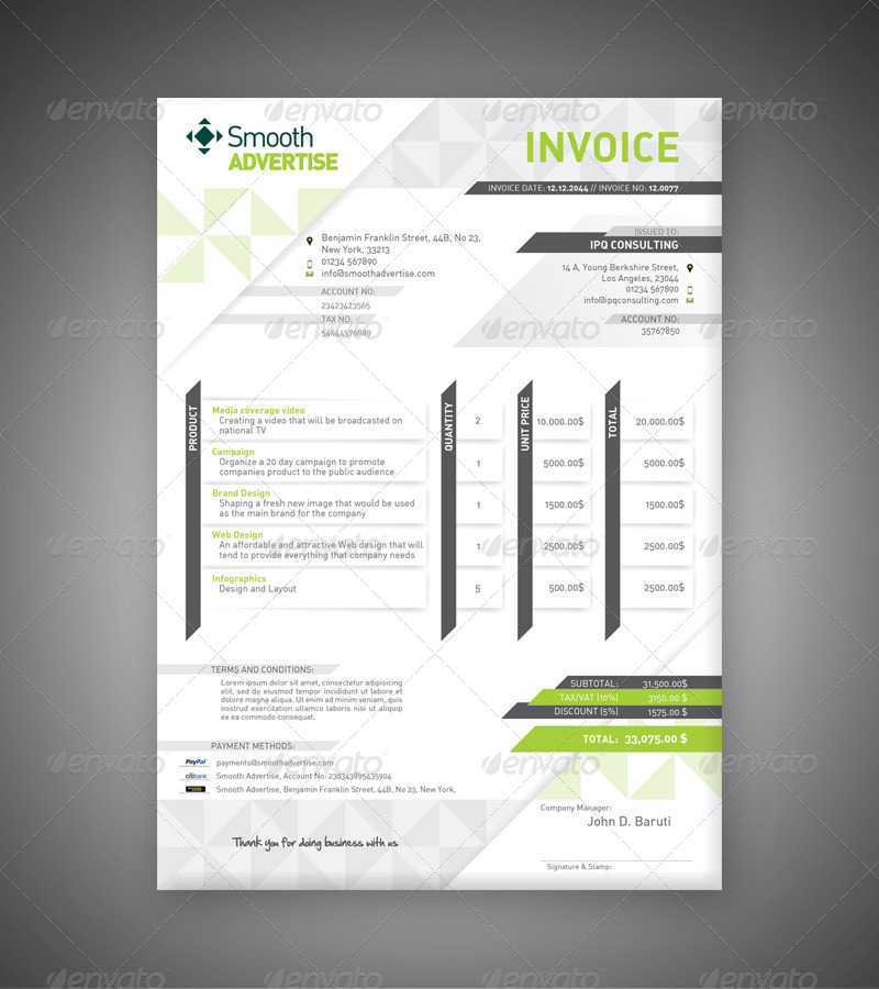 corporate invoice template by departstudio | graphicriver, Invoice templates