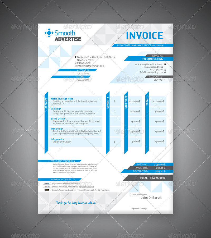 Corporate Invoice Template By DepartStudio GraphicRiver - Corporate invoice template