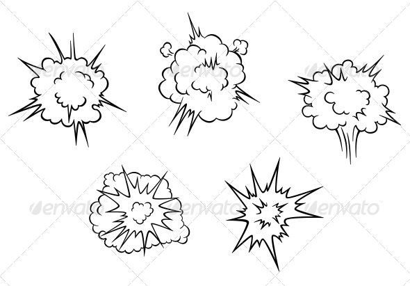 Cartoon Clouds of Explosion - Miscellaneous Vectors