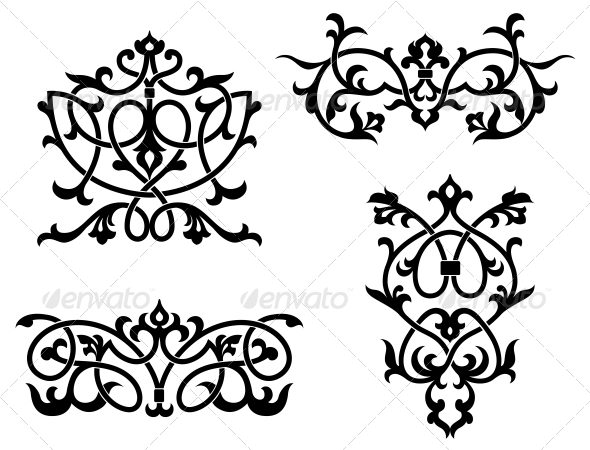 Elements and Borders in Vintage Style - Decorative Symbols Decorative