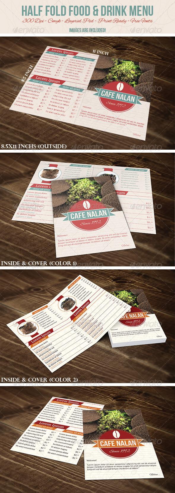 Half Fold Food & Drink Menu - Food Menus Print Templates