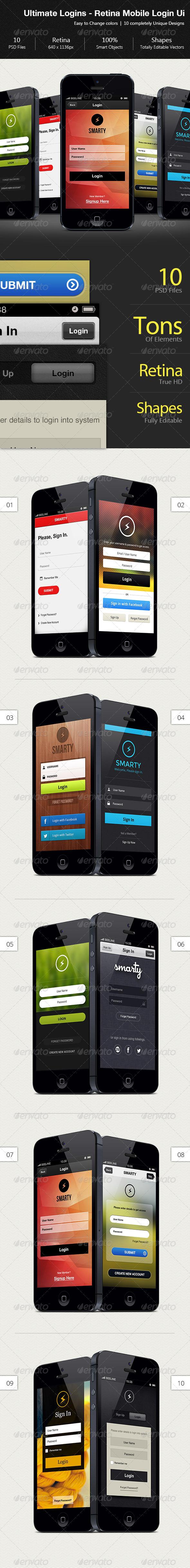 Ultimate Mobile Retina Login Design - User Interfaces Web Elements