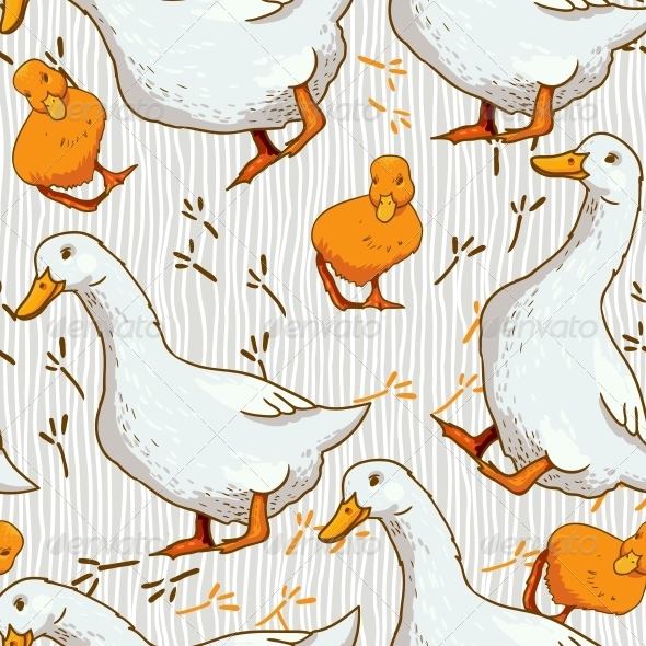 Cartoon Wallpaper with Duck - Animals Characters