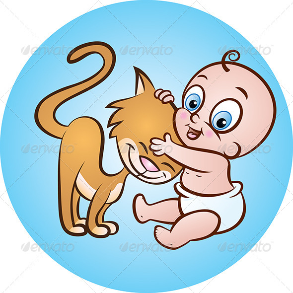 Baby with Kitty - Characters Vectors