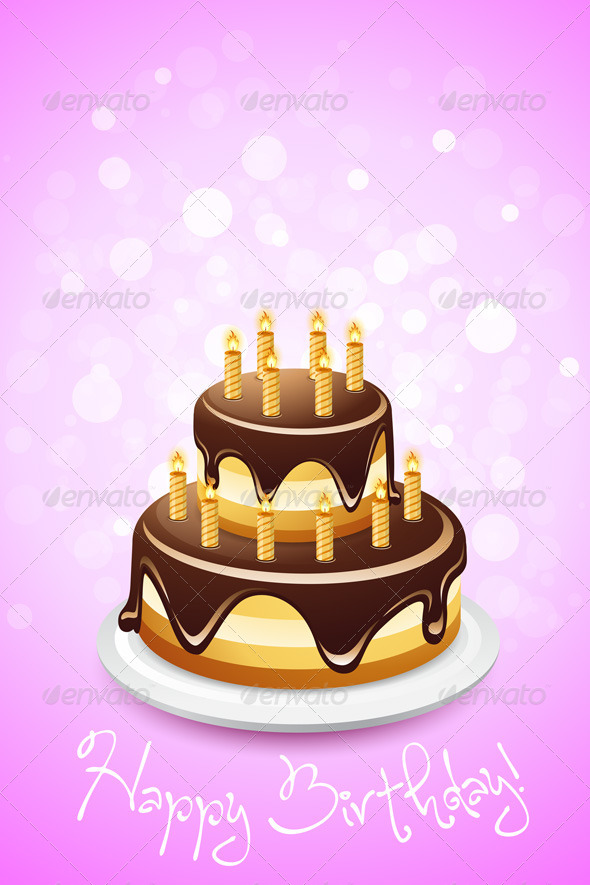 Happy Birthday Card with Cake - Birthdays Seasons/Holidays