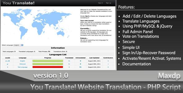 You Translate! Website Translation System - CodeCanyon Item for Sale