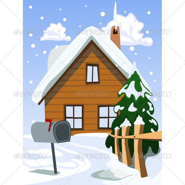 Illustration of House in Snow Landscape - Seasons Nature