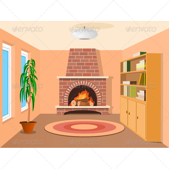 View in Room with Fireplace - Buildings Objects