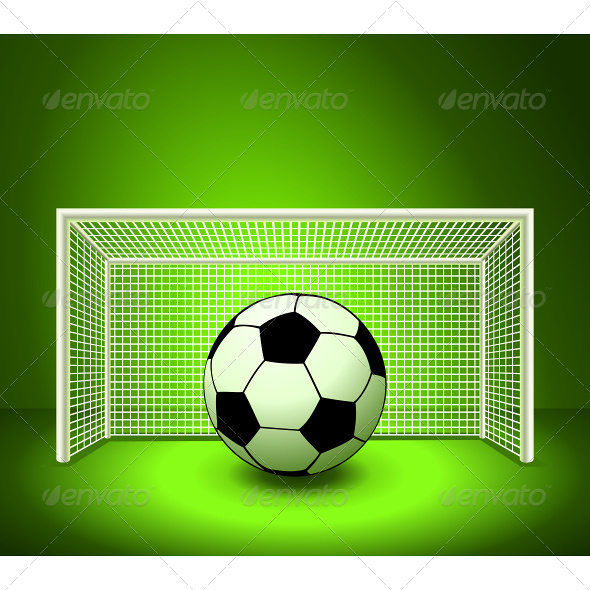 Vector Soccer Ball on the Green Field  - Sports/Activity Conceptual