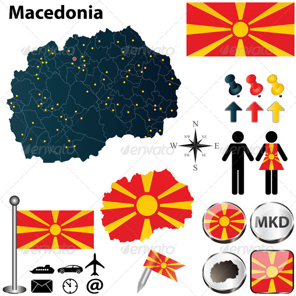 Map of Macedonia - Travel Conceptual