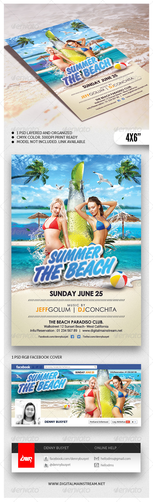 Summer Beach Flyer Template - Events Flyers