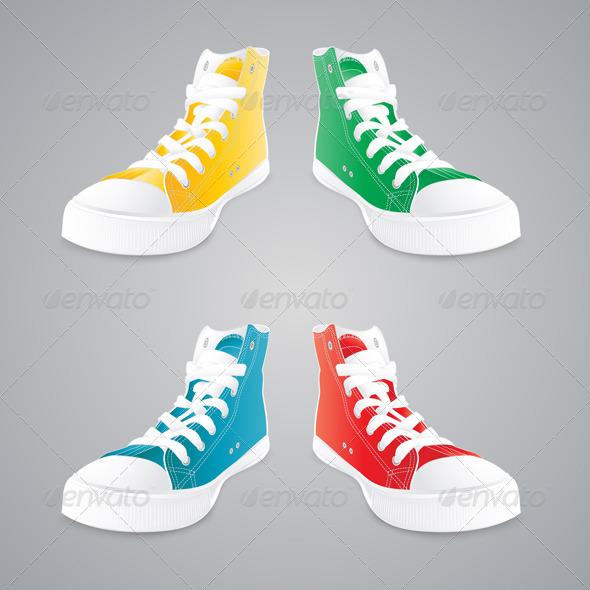 Colorful Gumshoes Vector Set - Objects Vectors