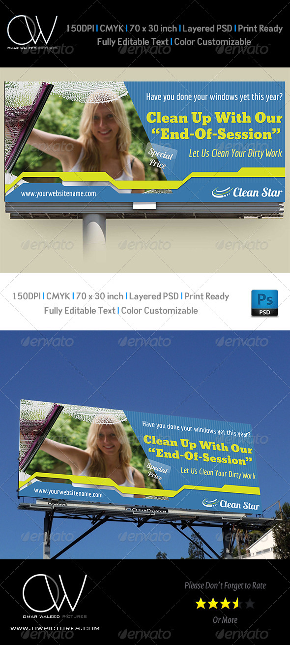 Cleaning Services Billboard - Signage Print Templates