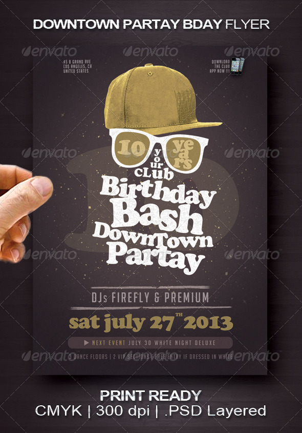 Downtown Partay Bday Flyer - Events Flyers