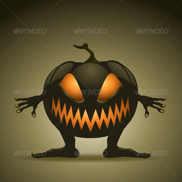 Halloween Background with Monster Pumpkins - Halloween Seasons/Holidays