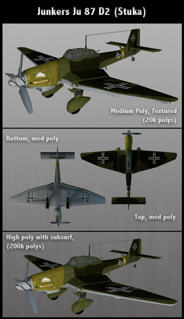 Junkers Ju 87 D2 Stuka (Med Poly) - 3DOcean Item for Sale